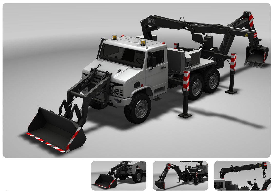 Emergency  Excavator Machine / Excavator Vehicle Remove The Barricade With Telescopic Boom